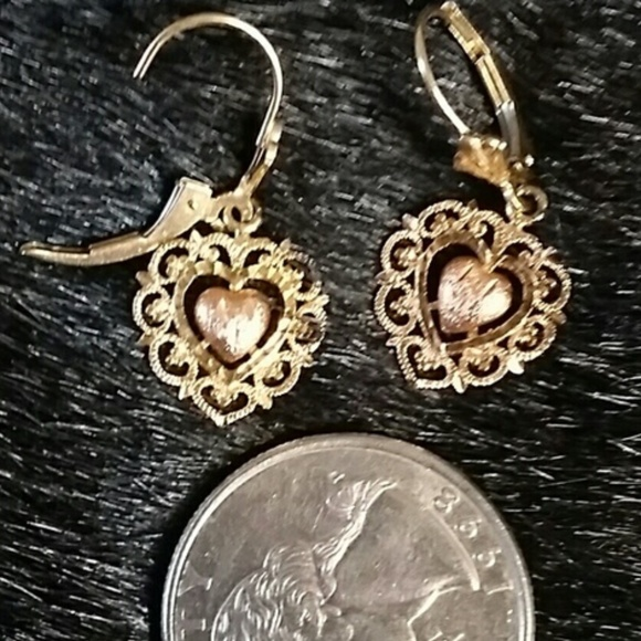Beverly Hills Gold Jewelry 14k Rose Yellow Gold Heart Earrings